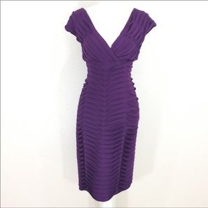 Adrianna Papell purple bandage midi dress